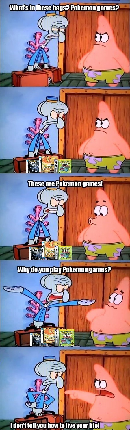 pokemon games,SpongeBob SquarePants,patrick