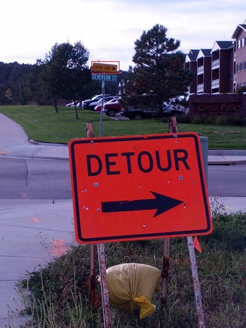road signs detour there I fixed it - 7828194048