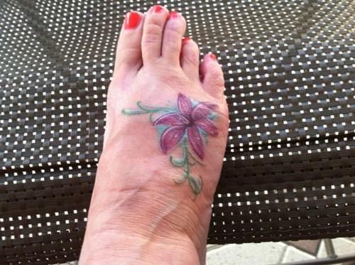 feet tattoos flowers funny - 7828336640