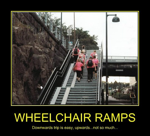 WHEELCHAIR RAMPS Downwards trip is easy, upwards...not so much...