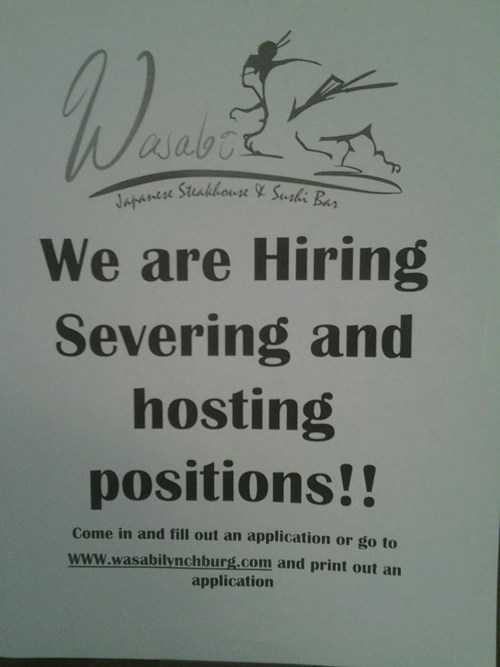 hiring,restaurants,typos