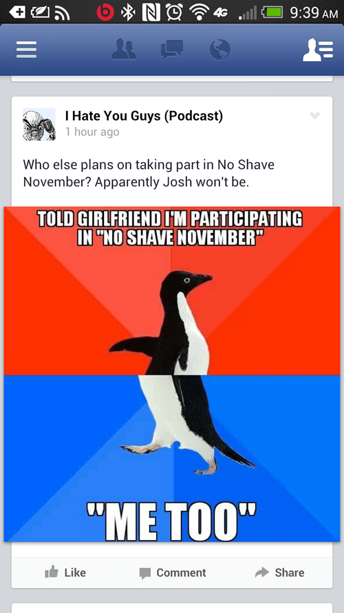 socially awkward penguin,no-shave november,funny,socially awesome penguin