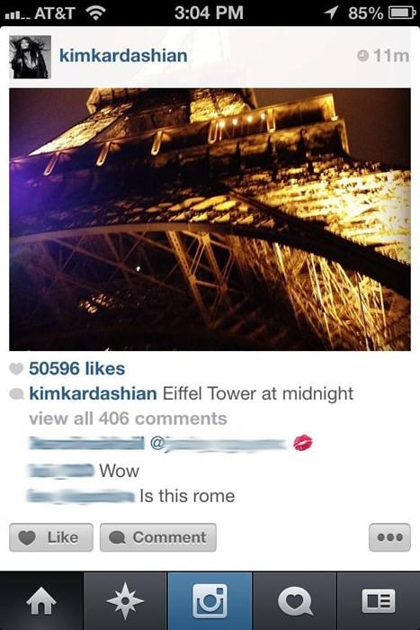 rome paris kim kardashian geography eiffel tower failbook g rated - 7829613568