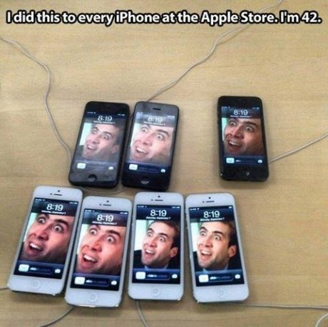 apple store caged nicolas cage iphone - 7829642752