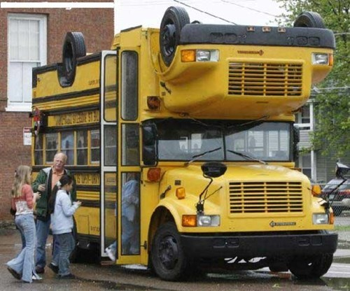 wtf,school bus,double decker,funny
