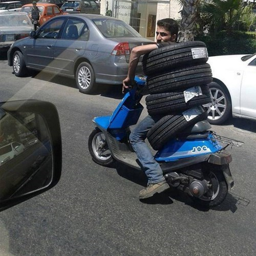 tires,special delivery,safety,dangerous,funny
