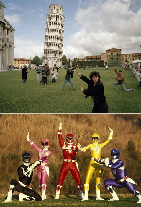 power rangers,leaning tower of pisa