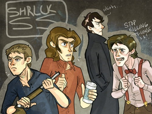 superwholock,Fan Art,Supernatural,doctor who,Sherlock