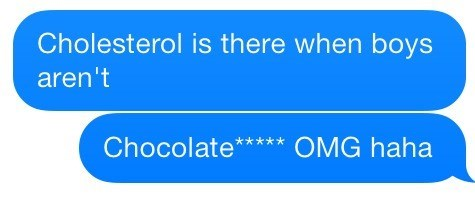 cholesterol autocorrect text chocolate