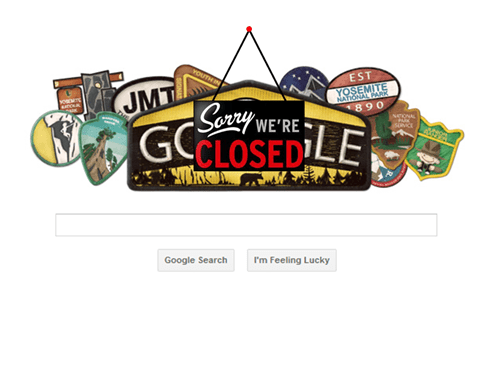 google doodle yosemite goverment shutdown google monday thru friday g rated