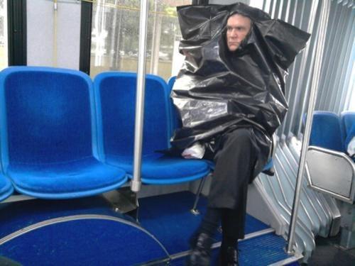 wtf,public transportation,trash bags,funny