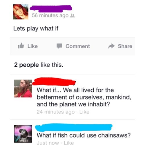 chainsaws,two types of people,fish
