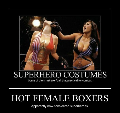 HOT FEMALE BOXERS Apparently now considered superheroes.