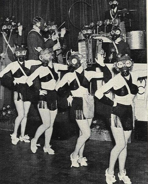 gas masks,wtf,cheerleaders,funny