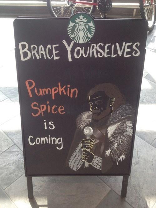 halloween IRL Starbucks brace yourselves pumpkin spice Memes - 7833513984
