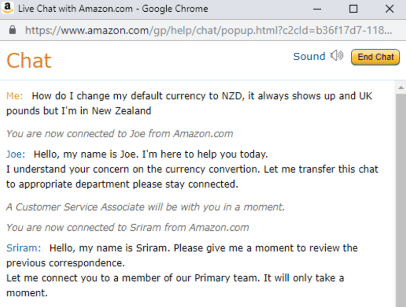 user experiences the failure of Amazon Customer service and at least gets a laugh out of it