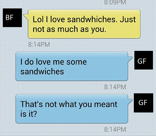 boyfriend text sandwich funny - 7833718016