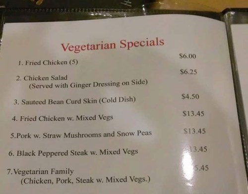 menu,facepalm,restaurant,vegetarian,funny