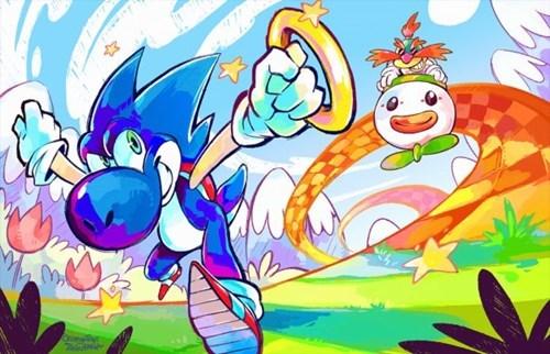 crossover art mario yoshi sonic - 7835344640