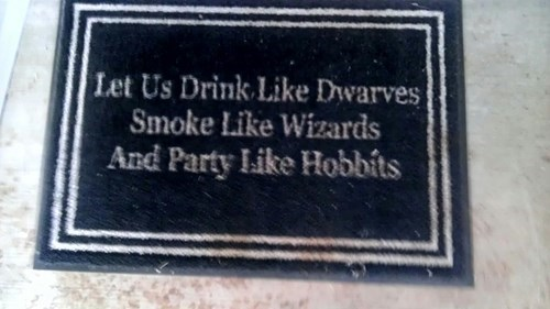 hobbits Lord of the Rings doormat Party funny after 12 g rated