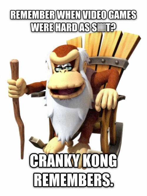 cranky kong,donkey kong,difficulty,nostalgia,video games