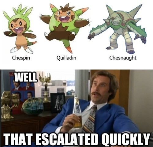 escalated quickly evolution chespin Memes - 7836113920