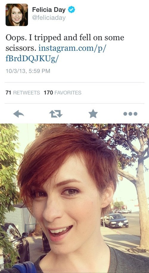 Felicia Day short hair celebrity twitter - 7836314112