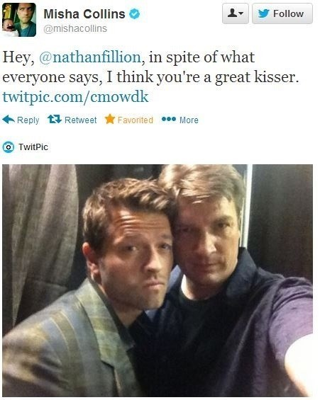 nathan fillion,misha collins,ship,celebrity twitter