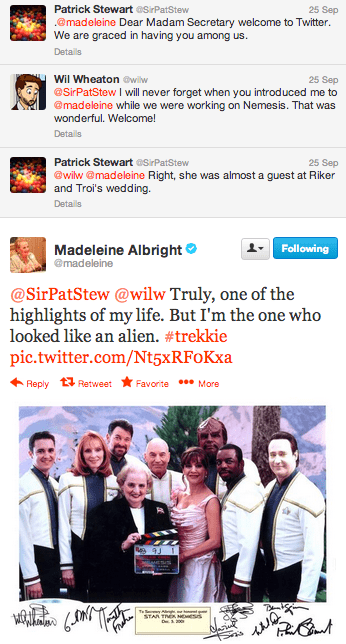 TNG,Madeleine Albright,Star Trek,celebrity twitter