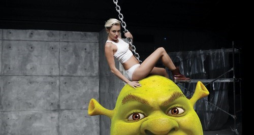 miley cyrus,wrecking ball,shrek