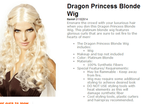 cosplay Game of Thrones wigs - 7836833536