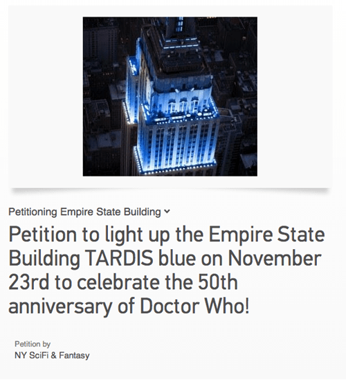 doctor who,50th anniversary,petition