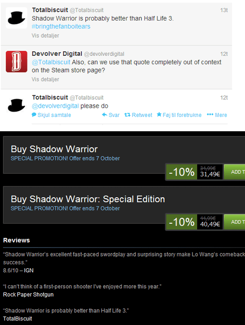 reviews,quotes,half life,devolver digital,Shadow Warrior