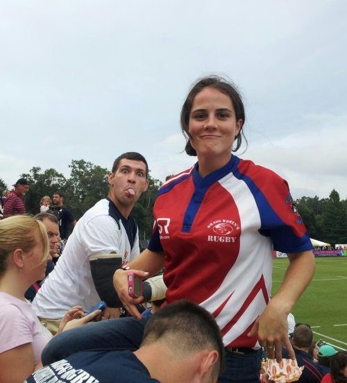 sportsmanship photobomb rugby tongue out - 7840359168
