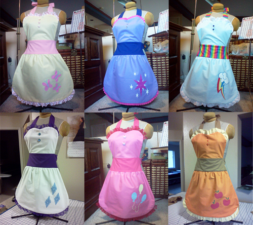 mane 6 fanmade aprons - 7841310976