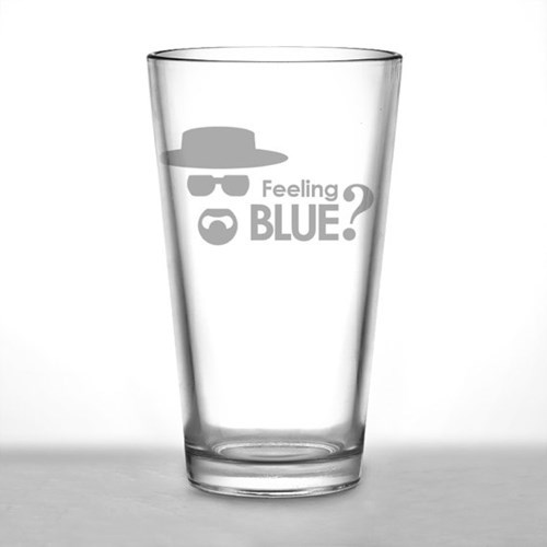 blue breaking bad pint glass funny