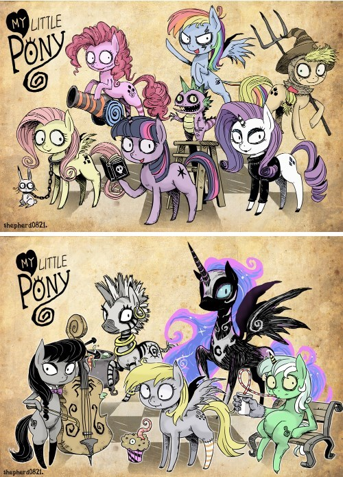background pony Fan Art mane 6 MLP tim burton - 7842509312