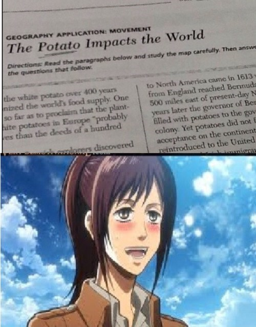 potato girl anime attack on titan - 7842954496