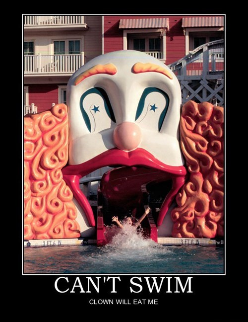 scary wtf clown swimming funny - 7843029504