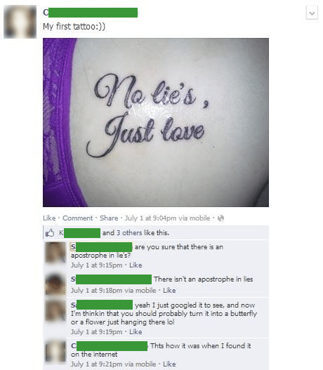 grammar,internet,tattoos,funny