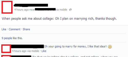 marriage,gold diggers,spelling,college