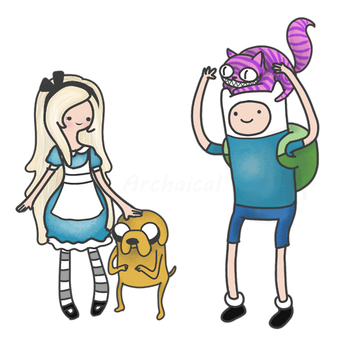 alice in wonderland,crossover,cartoons,adventure time