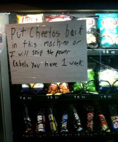 vending machines,cheetos,there I fixed it,g rated