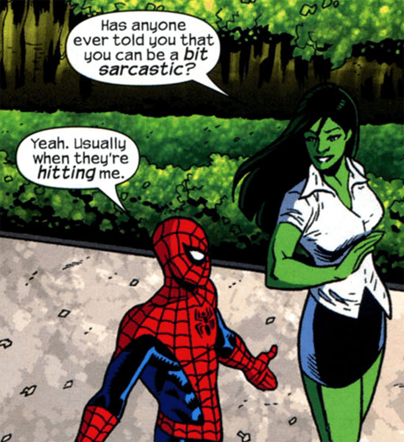 sarcastic she hulk Spider-Man off the page - 7844811008