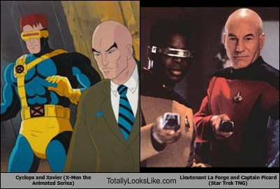 Captain Picard,x men,totally looks like,cyclops,Star Trek,lieutenant la forge,professor x,funny