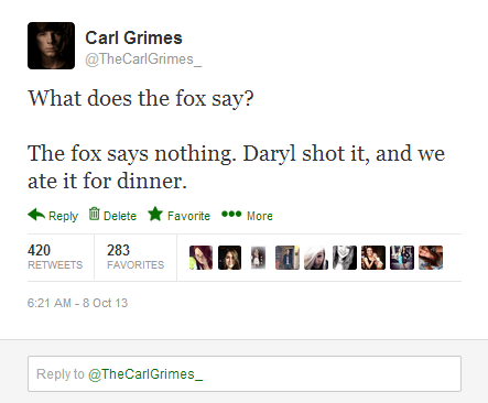 daryl dixon,carl grimes,what does the fox say,celebrity twitter,The Walking Dead