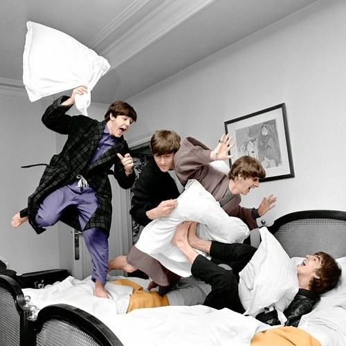 color beatles pillow fight