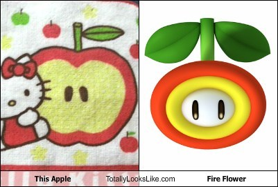 Videogames,hello kitty,totally looks like,apples,fire flowers