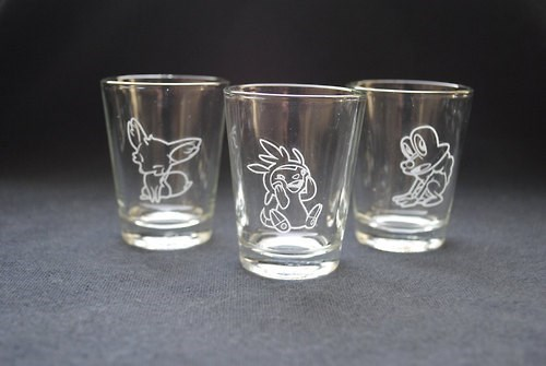 Pokémon shot glasses video games funny - 7847345152