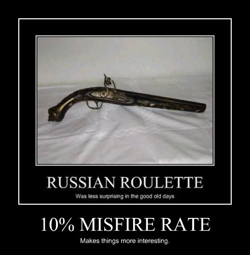 10% MISFIRE RATE Makes things more interesting.
